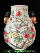 10.2 Qianlong Marked Old Chinese Pastel Porcelain Palace Peach Deer Ear Bottle