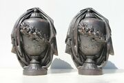 Stunning Antique Large Pair Of Neoclassical Cast Iron Draped Urns Finials French