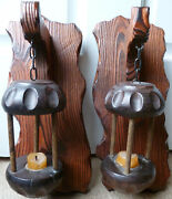Vintage Mcm Lantern-style Wall Sconces Candle Hanging Set Of 2 Wooden Wood Lot