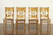 Victorian Set Of 4 Carved Birch Dining Or Game Chairs Leather Seats 36717