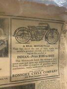 Vintage 1916 Indian Motorcyle Ad Uncut In Roanoke Times Newspaper Gas Oil Auto