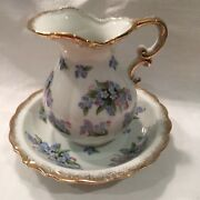 Vintage Royal Crown Hand Painted Pitcher And Dish Forget Me Not Flowers