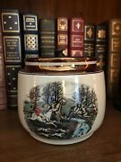 Vintage English Grays Pottery Dunhill Tobacco Humidor 1950's Hunt Scene A8834