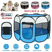 Portable Pet Exercise Kennel Playpen Dog Cats Puppy Tent Indoor/outdoor Foldable