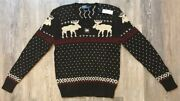 Polo Menand039s Fair Isle Reindeer Sweater Size L Cotton Nwt Msrp 195