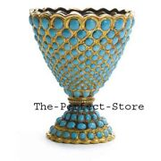 Natural Turquoise Antique Vintage Old Pcs 925 Solid Silver Flowerpot Jewelry