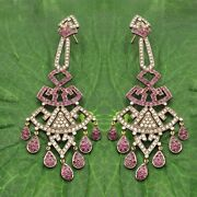 14k Natural Ruby And Diamond Victorian Style Dangle Earrings Jewelry