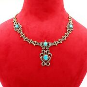 14k Gold Natural Turquoise Diamond Victorian Necklace Earrings Set Jewelry