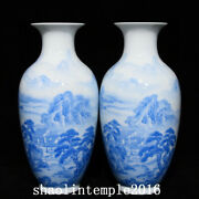 8.4a Pair China Qing Dynasty Sapphire Blue Landscape Figure Pattern Bottle