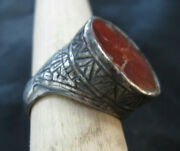 Massive Medieval Europe Silver Ring With Stone Gem 13th Ad