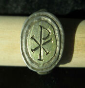 Roman Silver And Gold Ring With Engraved Chi-rho Monogram 3dr Ad