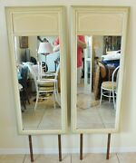 Pair Antique/vtg Henry Link Dixie Green/yellow Faux Bamboo Dresser/wall Mirrors