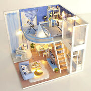Doll House Wooden Furniture Full Set Creative Puzzle Cottage Dustproof Cover