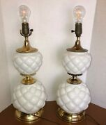 Vintage Milk Glass Table Lamp Quilted Puffy Set Of 2