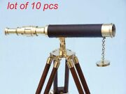 Antique Vintage Nautical Maritime Brass Marine 14 Telescope With Wooden Tripod