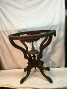 Vintage Victorian Scroll Cut Wood Plant Stand Mahogany 26in Tall Fish Bowl Stand