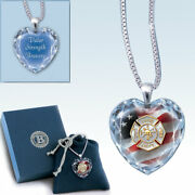 Firefighter Crystal Heart Pendant Necklace By The Bradford Exchange