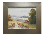 Framed Oil Painting Of Impressionistic Landscape With Contemporary Silver Frame