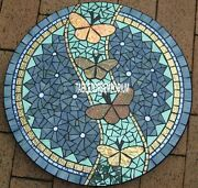 24and039and039 Marble Center Top Table Butterfly Multi Inlay Mosaic Outdoor Patio Decor