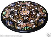3.5and039x3.5and039 Black Marble Round Dining Room Table Rare Inlay Floral Marquetry Decor