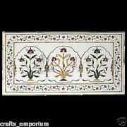 4and039x2.5and039 White Dining Table Top Pietra Dura Inlaid Handmade Home Furniture Decor