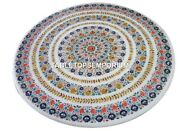 48 White Marble Round Dining Center Top Table Multi Floral Inlaid Decor H4436