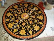 36 Black Marble Top Dining Round Table Marquetry Inlay Hallway Home Decor E1279