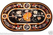 4and039x2and039 Black Dining Table With Marble Top Rare Pietradura Mosaic Inlay Gems Work