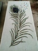 4and039x2and039 White Marble Dining Living Room Table Top Peacock Feather Inlay Decor E952