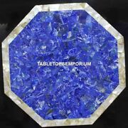 30 Lapis Marble Bedroom Table Top Abalone Inlay Stone Occasional Decor H4451