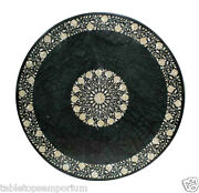 48x48 Round Dining Table Inlaid Mother Of Pearl Marquetry Green Marble Work
