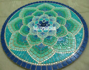 30and039and039 Marble Round Coffee Table Top Malachite Floral Stone Inlaid Kitchen Decor