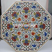 30and039and039 Marble Coffee Side Table Top Elephant Floral Inlay Marquetry Decorative