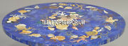 30and039and039 Blue Marble Coffee Table Top Semi Precious Inlay Marquetry Gemstone Decor