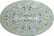 30 White Marble Coffee Round Table Top Marquetry Inlay Micro Mosaic Home Decor