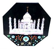 2and039x2and039 Black Marble Coffee Table Top Inlay Tajmahal Marquetry Occasional Gift