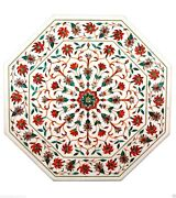 2and039x2and039 Marble Coffee Table Top Carnelian Inlay Peak Holiday Marquetry Home Dandeacutecor
