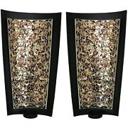 Decorshore Mosaic Tealight Candle Holders - Candle Sconces Pair 15 Inch