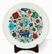 12 Marble Round Serving Plate Elephant Art Semi Precious Floral Christmas Gift