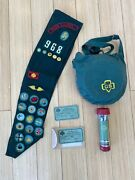 Vintage Girl Scout Items, 30's - 70's, Badges, Canteen, Flashlight, Registration