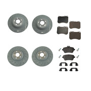 For Mercedes C217 S550 S550e Genuine Front And Rear Vented Disc Rotors W/ Pad Sets