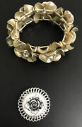 Vtg Fashion Costume Jewelry Flower Bracelet And Rose Clip Gold And Faux Diamond