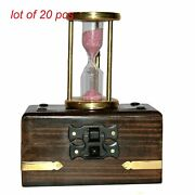 Antique Vintage Brass 3 Sand Timer 1 Minute Hourglass With Wooden Box Decor