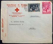 Wwii Holocaust Red Cross Cover German-occupied Belgium-palestine Sent Direct