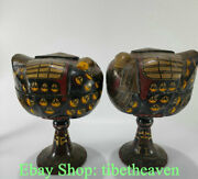10.4 Rare Old Chinese Lacquerware Dynasty Palace Mandarin Duck Censer Pair