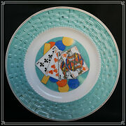 Beautiful French Pottery Plate Playings Card 1900-1920 G