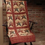 Primitive Country Rustic Rebecca's Star Patchwork Farmhouse Quilt Throw Blanket