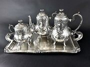 Antique Silver Plated French Christofle Coffee Tea Set Tray Teapot Louis