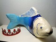 Large Mexican Folk Art Fish Statue/sculpture W/ Red Lips Lacquered Paper Mache