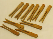 Lot Of 10 Antique Vintage Wooden Clothespins Flat Head - Craft/doll 4 - Patina
